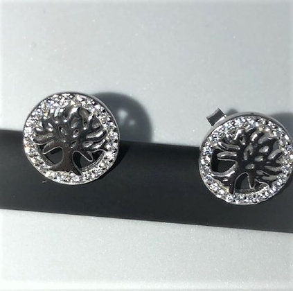 Sterling Silver and CZ Tree of Life stud earrings