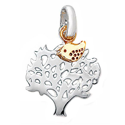 Sterling Silver and 9ct gold Tree of Life Pendant with bird