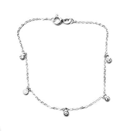 Sterling Silver  tiny CZ  charms Bracelet