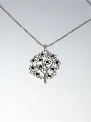Sterling Silver and black spinel pendant