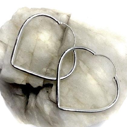 Sterling Silver large heart hoop  earrings
