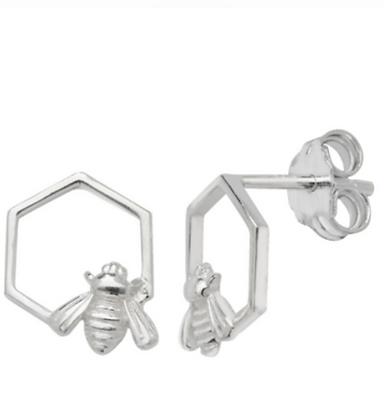 Sterling Silver honeycomb bee stud earrings