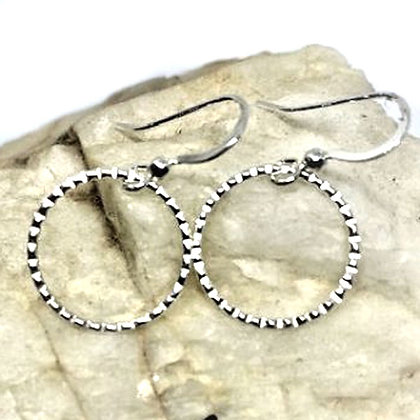 Sterling silver circle drop earrings