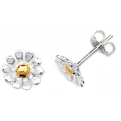 Sterling Silver and 9ct gold daisy stud earrings