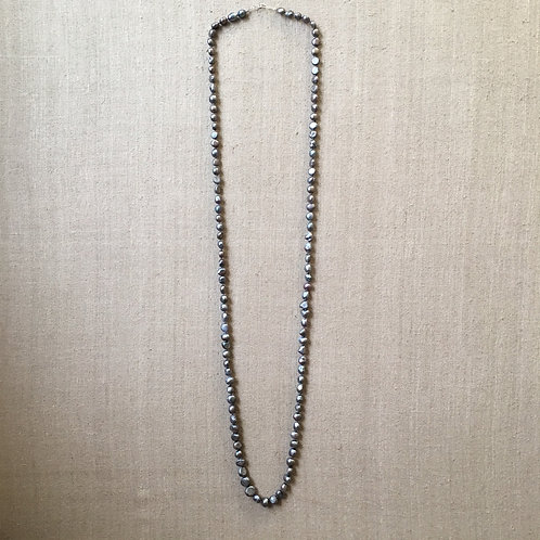 Silver freshwater pearl rope
