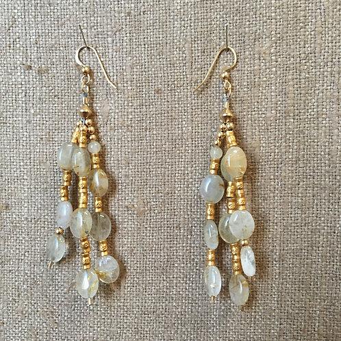 Rutilated Quartz and Vermeil Earrings