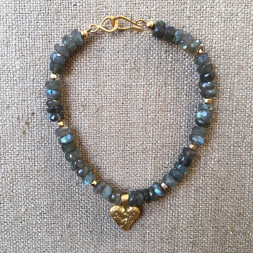 Faceted labradorite and vermeil bracelet