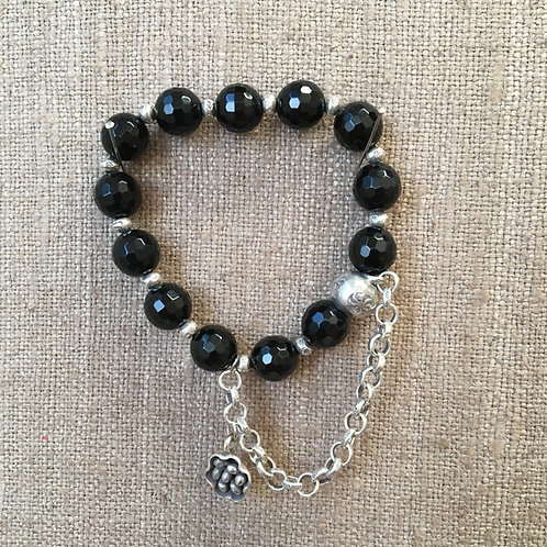Faceted Onyx and Sterling bracelet