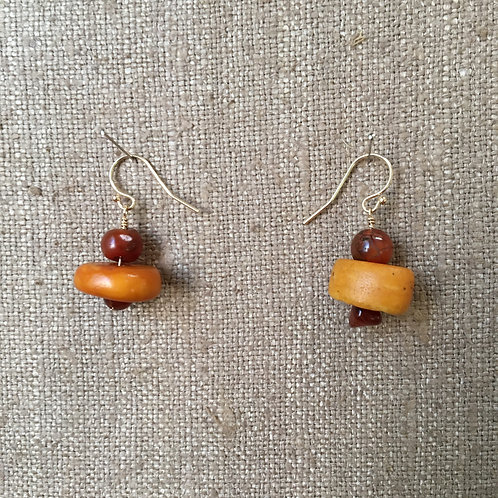Antique Amber and Carnelian with 14 kt Gold Finding