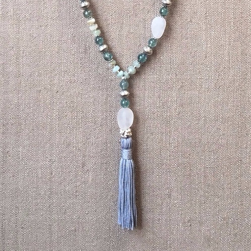 Apatite, aquamarine, chrysocolla and quartz necklace