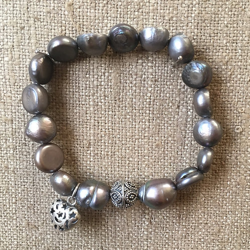 Silver pearl with heart charm