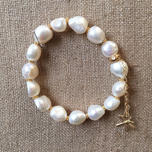 Baroque pearl and gold bracelet