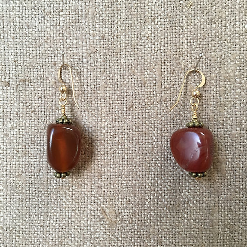 Botswana Agate with Gold Vermeil Earrings