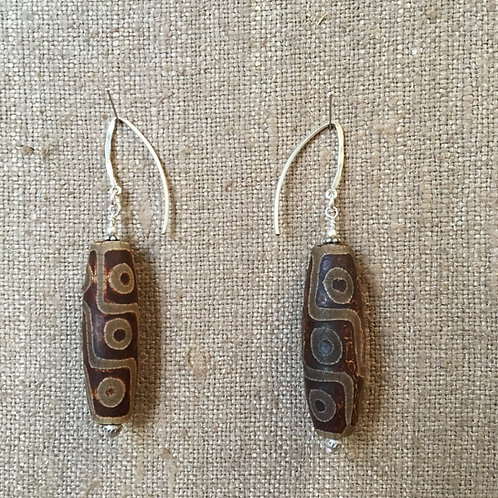 African Beads with Hand Hammered Sterling Silver Findings