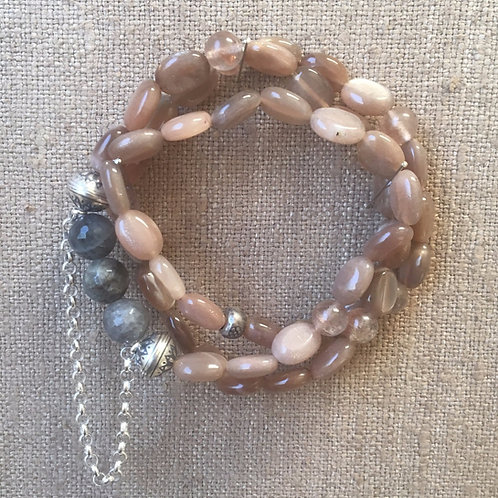 Moonstone and labradorite wrap bracelet