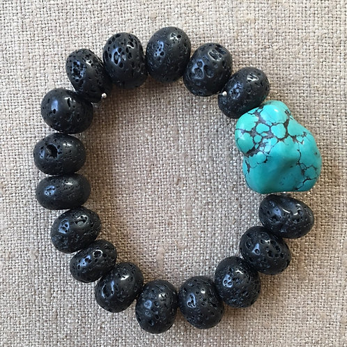 Lava stones and turquoise bracelet