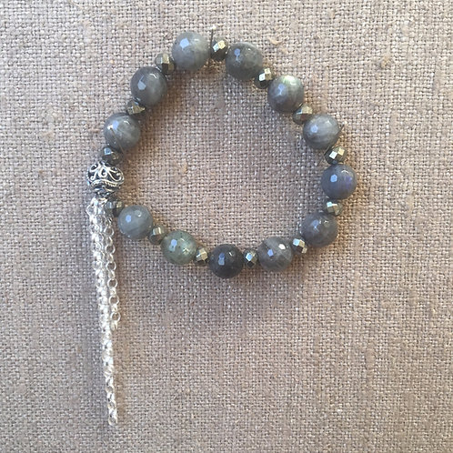 Labradorite and pyrite bracelet