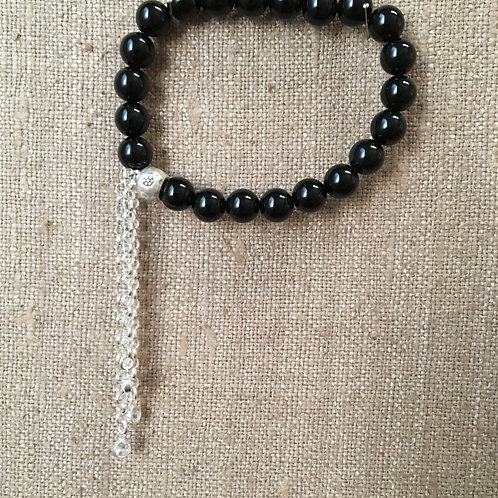Black Onyx and Sterling with Crystal Charms