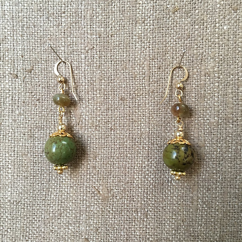 Jasper and Apatite with Gold Vermeil Earring