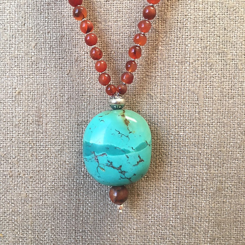 Carnelian with turquoise focal bead