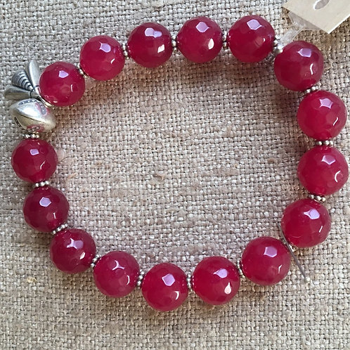 Faceted ruby jade and sterling bracelet