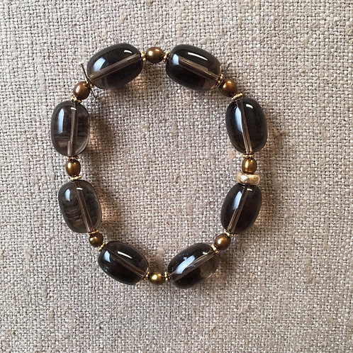 Smoky quartz and pearl bracelet