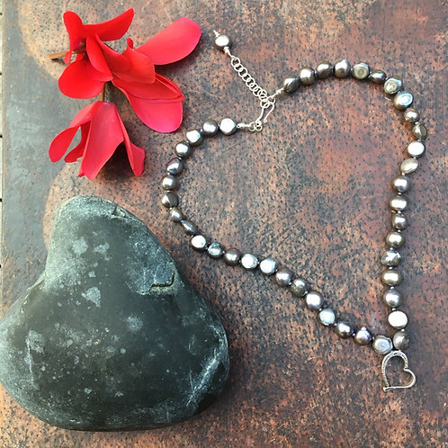 Silver pearls with heart pendant