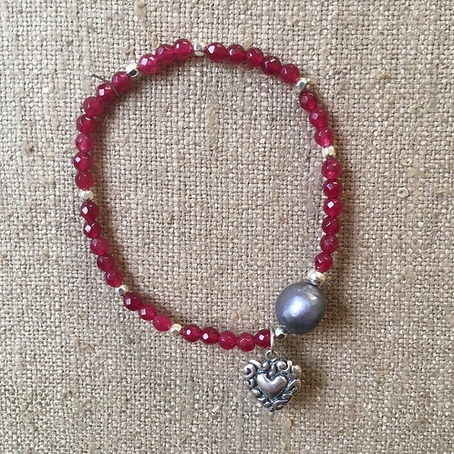 4mm Ruby jade with heart charm