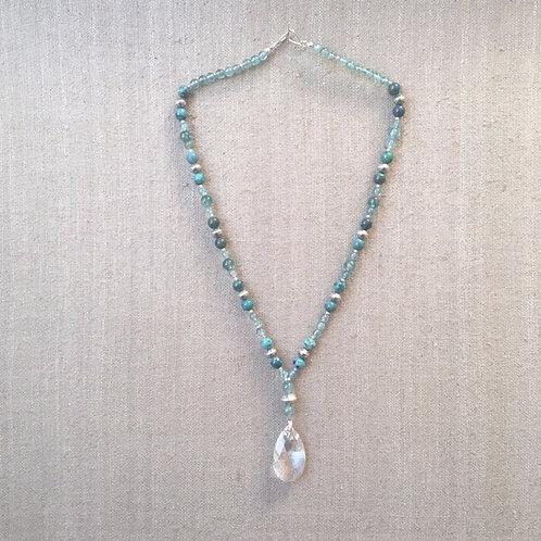 Apatite, aquamarine, chrysocolla and Swarovski crystal