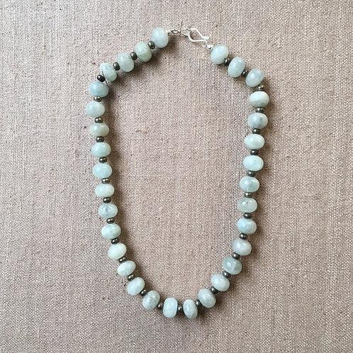 Aquamarine and pyrite necklace