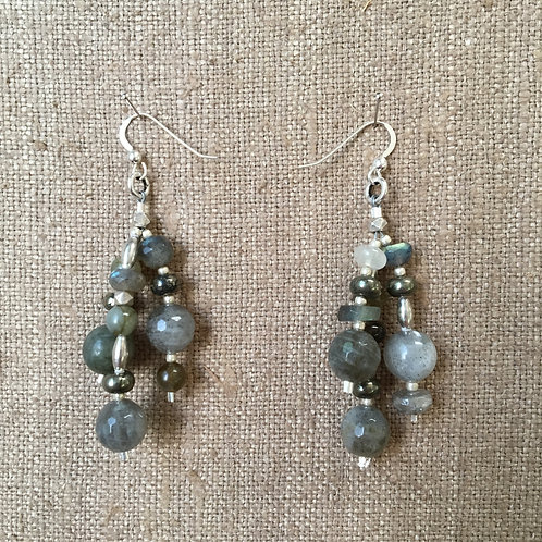 Labradorite and Pyrite Triple Strand Earrings