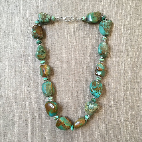 Chinese Turquoise and Sterling Necklace