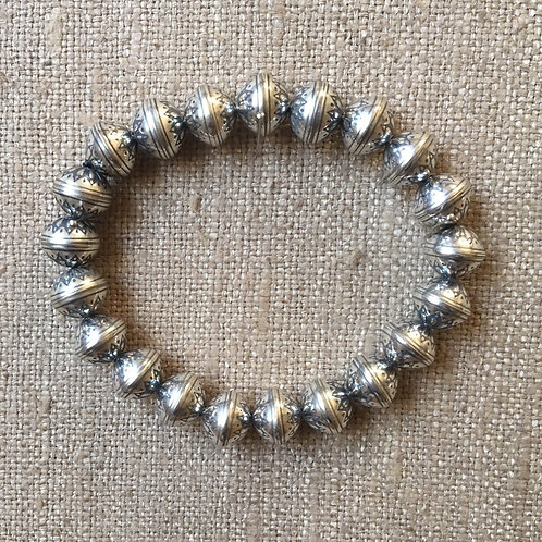 10mm Sterling silver stretch bracelet