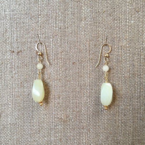 Faceted Honey Jade with Gold Vermeil Earring