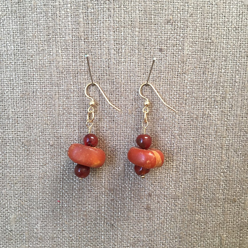 Antique Amber and Carnelian with Gold Vermeil Finding