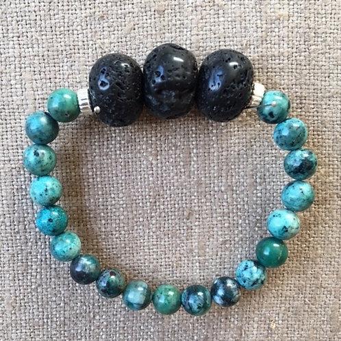 Crysocolla and lava stone bracelet