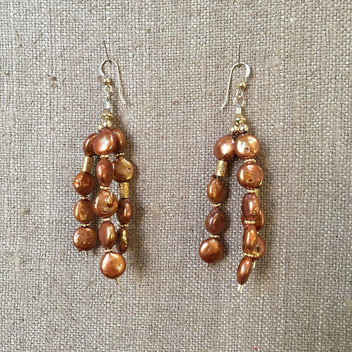 Copper Seed Pearl Triple Strand Earrings