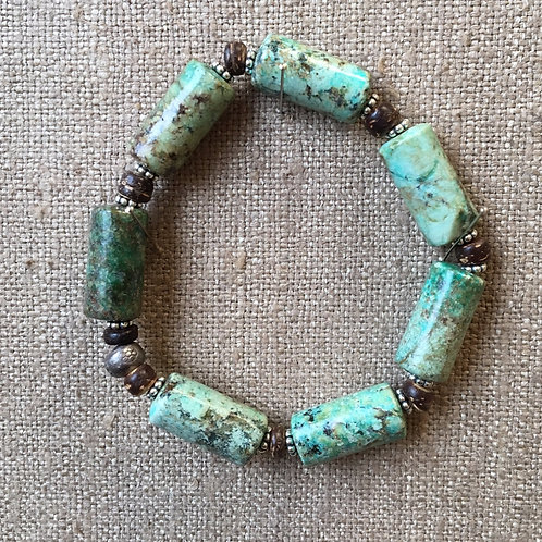 Turquoise, bone and sterling silver bracelet