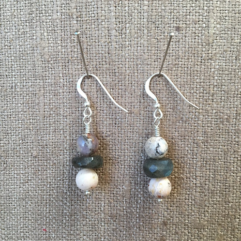 Labradorite and Pink Opal Earrings