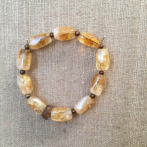 Citrine, Carnelian and Freshwater Pearls