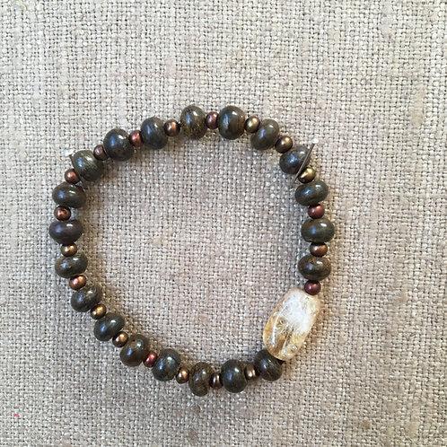 Bronzite Pearl and Citrine Bracelet