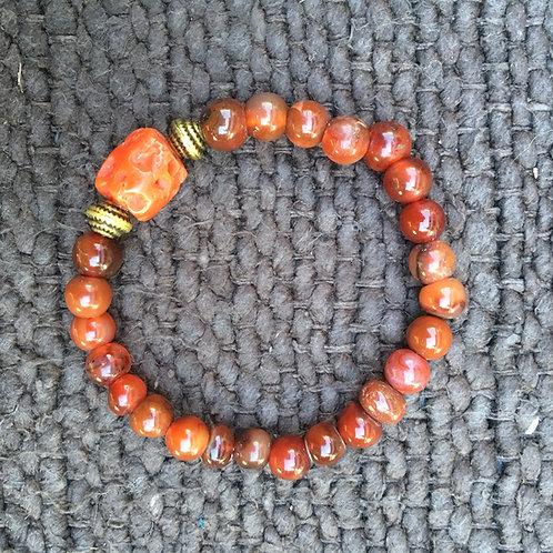 Antique coral and carnelian bracelet