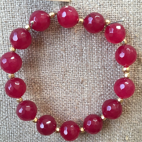 Faceted ruby jade with gold vermeil spacers