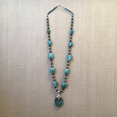 Turquoise onyx and lava stone necklace