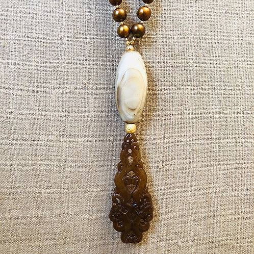 Copper pearl, dogan agate and jade pendant
