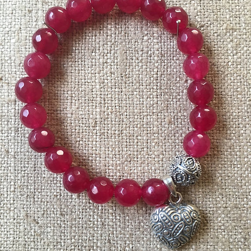 Ruby jade with heart charm