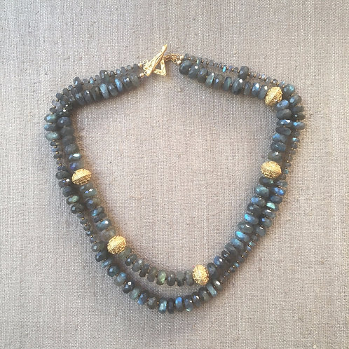 Faceted labradorite and 22kt gold plated beads