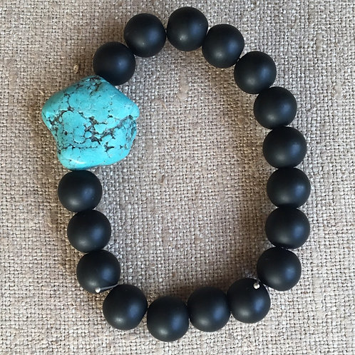 Matte onyx and turquoise bracelet