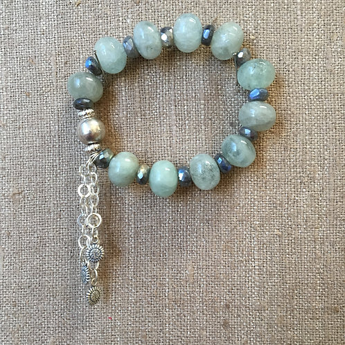 Labradorite Rondelles and Aquamarine with Sterling