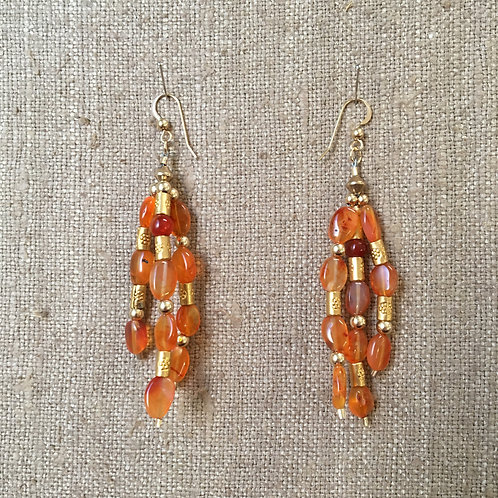 Carnelian and Gold Vermeil Triple Strand Earrings